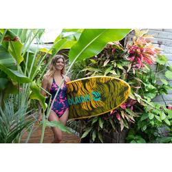 Bañador Deportivo Surf Olaian Clea Mujer Espalda Abierta Anudado Cuello Palmeras