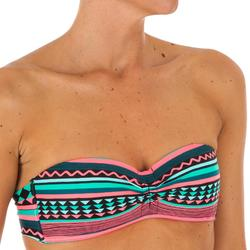 Top Bikini Surf Palabra de Honor Olaian Laeti Bandeau Copas Fijas Verde Fluor