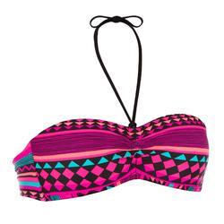 Haut de maillot de bain de surf forme bandeau coques fixes LAETI GIO ROSE