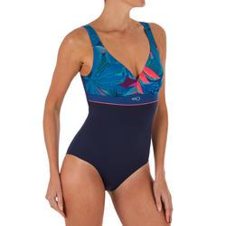 Bañador moldeador de natación mujer una pieza Kaipearl triki Pal azul rojo