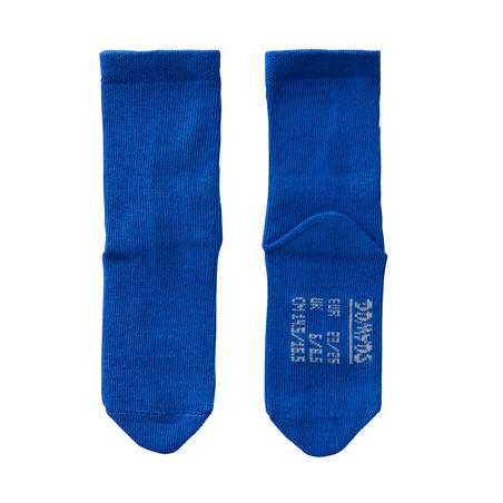 100 Kaus Kaki Senam Mid Twin-Pack - Biru/Hijau Bergaris