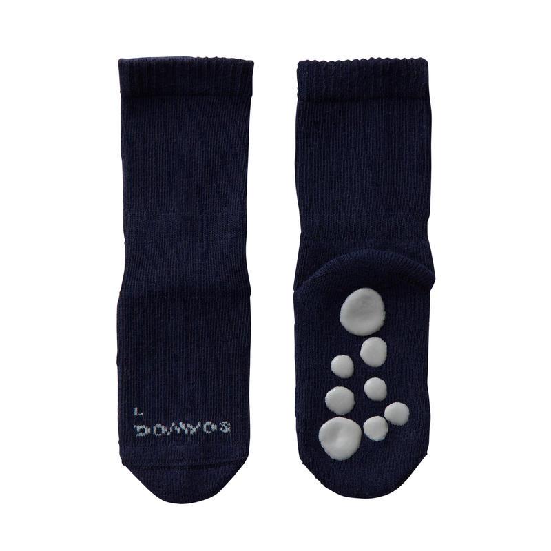 500 Non-Slip Gym Socks Twin-Pack - Navy/Mottled Grey