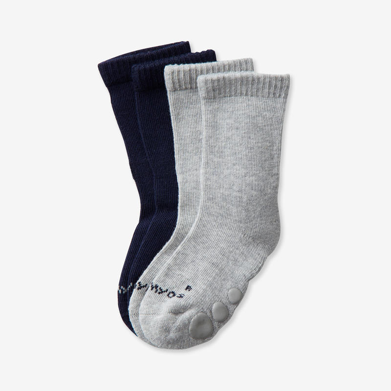 500 Non-Slip Gym Socks Twin-Pack - Navy/Mottled Grey