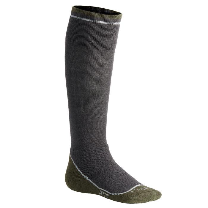 Warme paardrijkousen voor kinderen 500 Warm grijs/kaki (x1 paar)