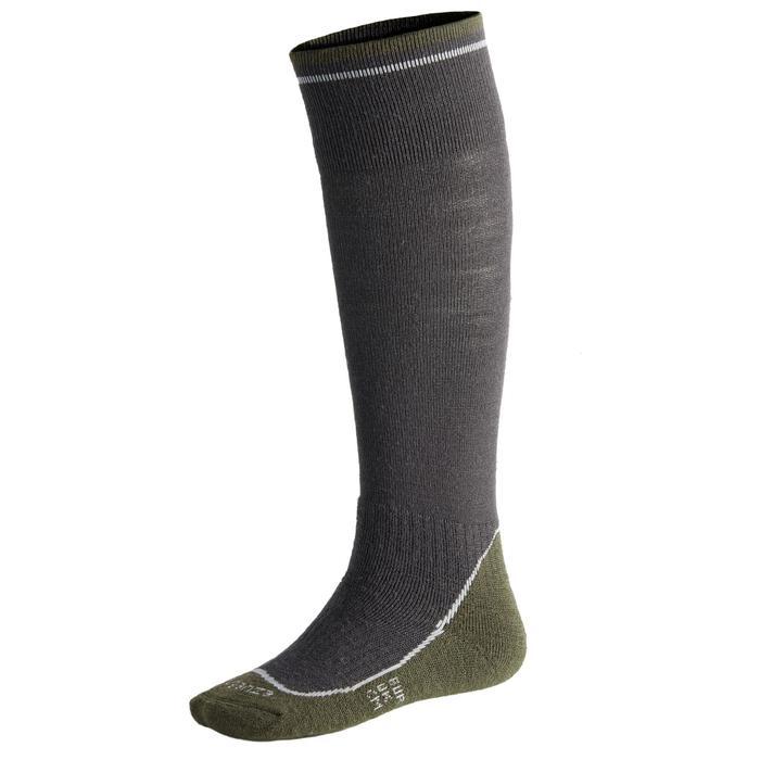Chaussettes chaudes équitation enfant 500 WARM gris/kaki (x1 paire)