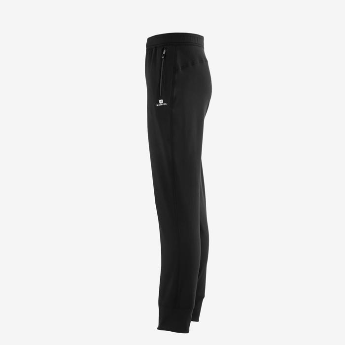 S500 Boys' Warm Regular-Fit Breathable Synthetic Gym Bottoms - Black