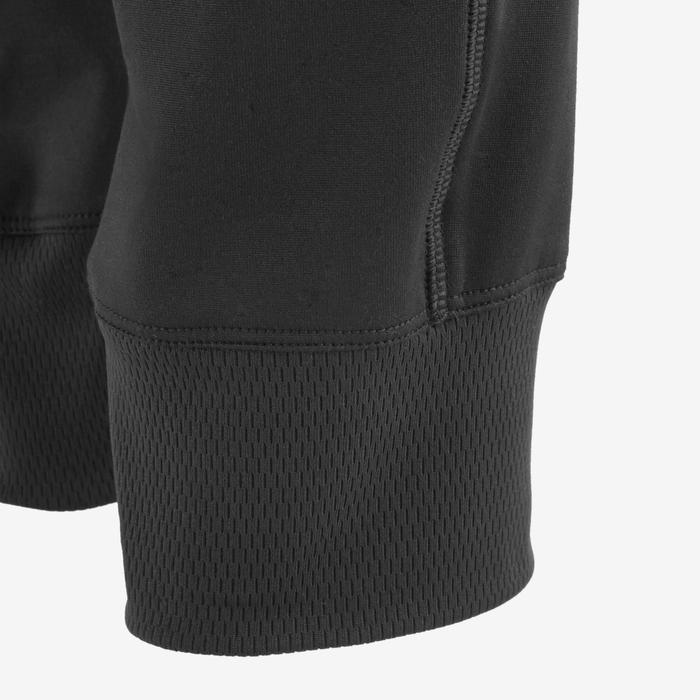 男童保暖標準剪裁透氣合成健身長褲S500 - 黑色