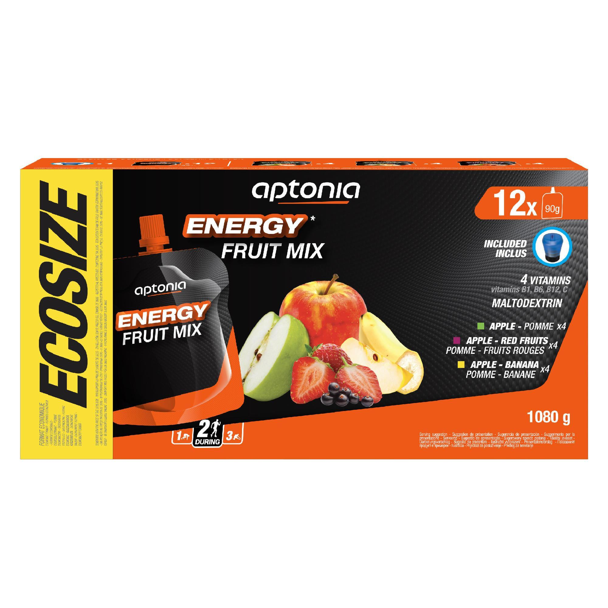 Spécialité de fruits énergétique 12x90g Pomme, Pomme-Banane, Pomme-Fruits Rouges - Aptonia