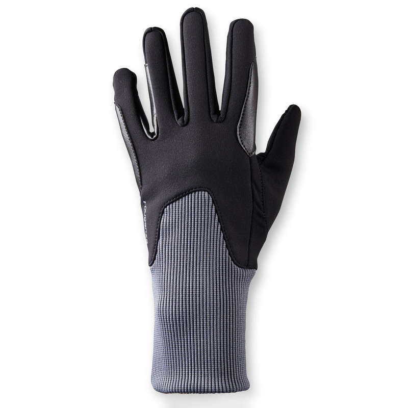 COLD WEATHER RIDING AD. GLOVES SOCKS Horse Riding - 140 Warm Gloves - Black/Grey FOUGANZA - Horse Riding