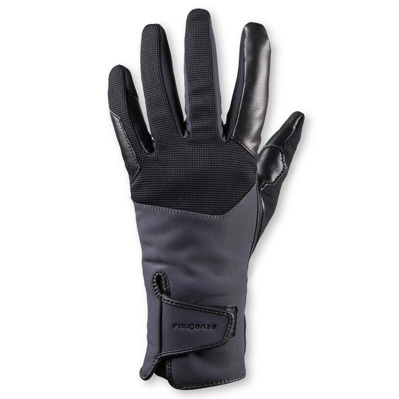 Gants d'équitation chauds et déperlants Femme - 560 WARM gris/noir