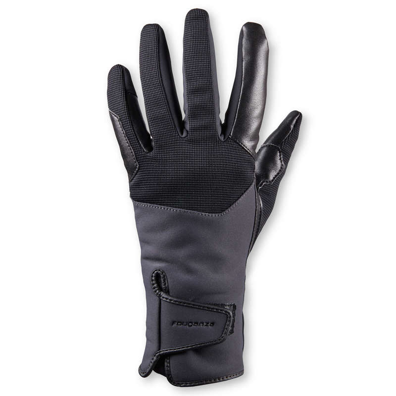 ADULT COLD WEATHER RIDING GLOVES/SOCKS Horse Riding - 560 Warm Women's Gloves - Grey FOUGANZA - Horse Riding