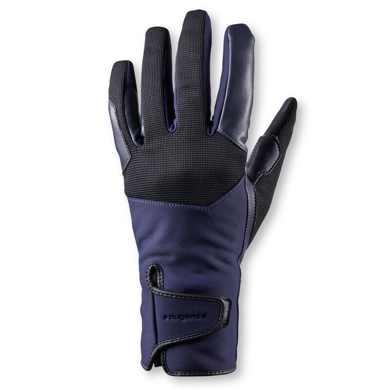 Warme rijhandschoenen voor dames 560 marineblauw/zwart