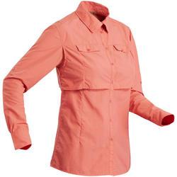 Camisa de manga larga de trekking en el desierto DESERT 500 mujer coral
