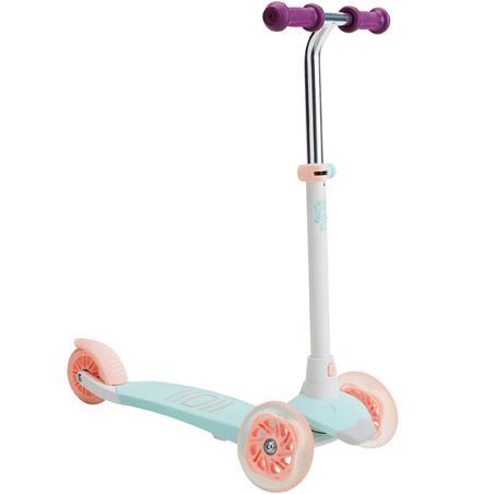 patín del diablo-scooter Oxelo B1 Niño Niña Luces de Colores Blanco/Verde/Rosa