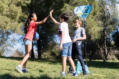 Hoop 500 Easy חיוק כדורסל - כחול. אפשר להעביר להרכיב בכל מקום ב30 שניות.