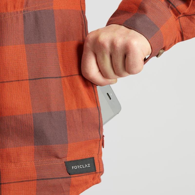 Men's travel Trekking Shirt TRAVEL100 Warm - Orange