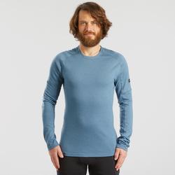 Merino shirt met lange mouwen voor bergtrekking heren Trek 500 blauw