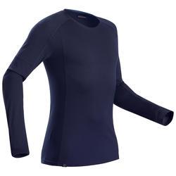 男款登山健行美麗諾羊毛長袖拉鍊T恤TREK 500-軍藍色