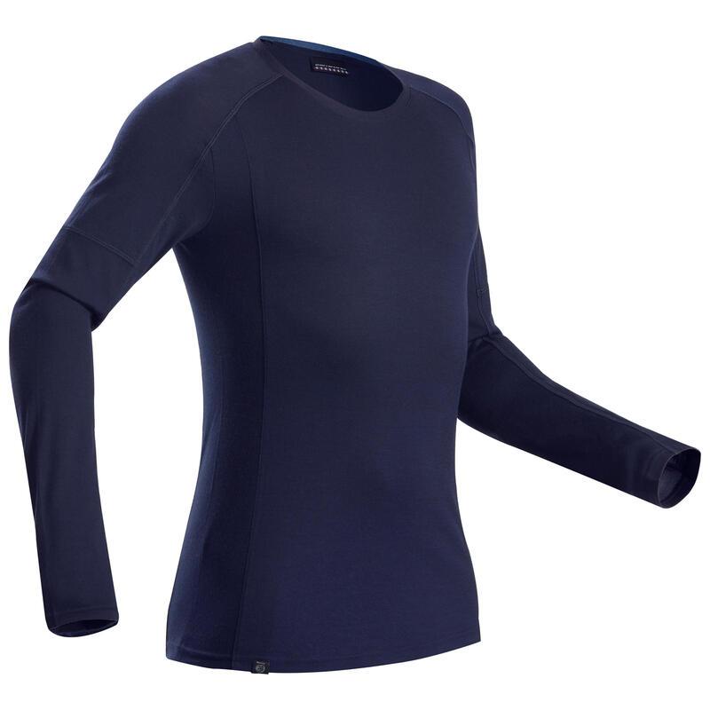 Merino shirt voor bergtrekking heren Trek 500 lange mouwen marineblauw