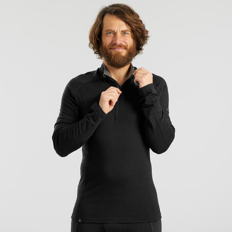 Trek 500 Mountain Trekking Long-Sleeved Merino T-Shirt Zippered Collar - Men