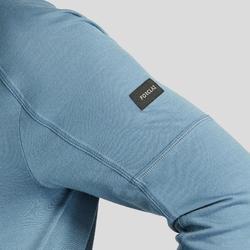 T-shirt mérinos manches longues de trek montagne - TREK 500 ZIP bleu homme