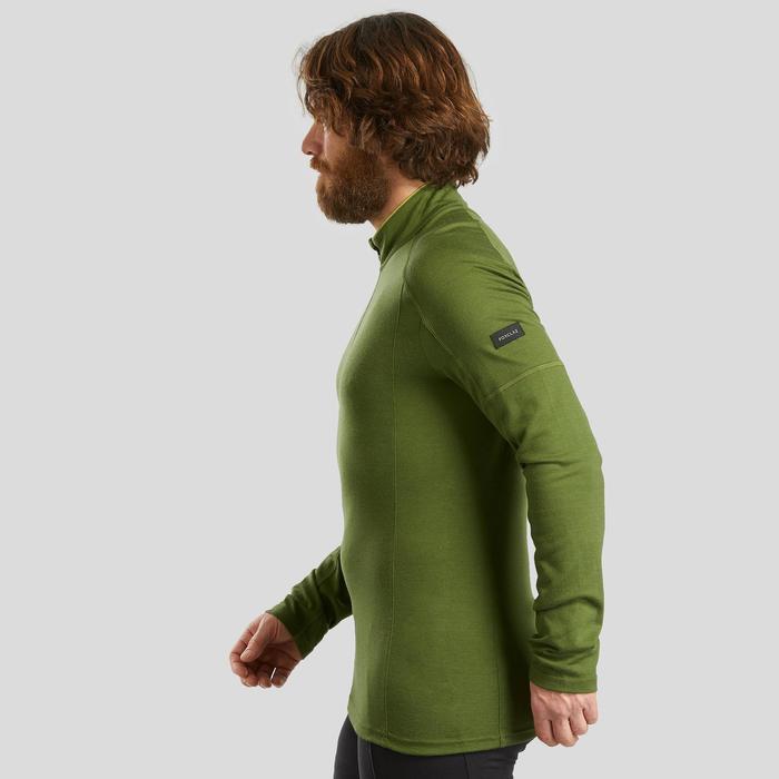 T-shirt manches longues de trek montagne - TREK 500 MERINOS ZIP kaki - homme