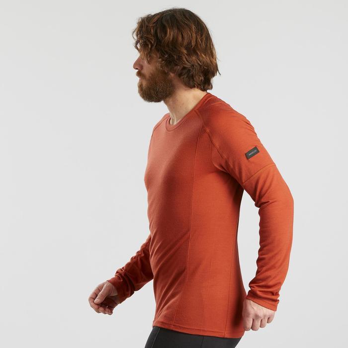 Merino shirt met lange mouwen voor bergtrekking heren Trek 500 oranje