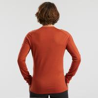 Men's Mountain Trekking Merino Wool Long-Sleeved Shirt TREK 500 - Orange