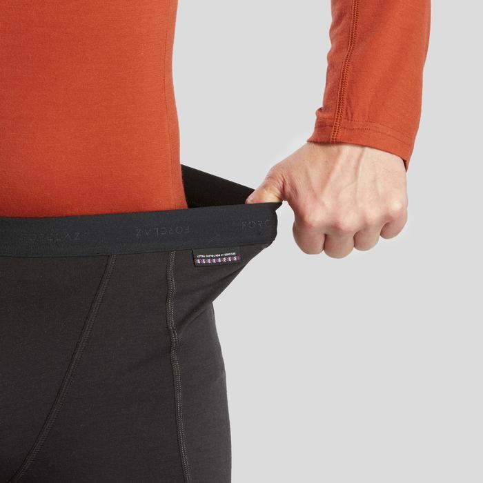Collant sous vêtement de trek montagne - TREK 500 MERINOS noir - homme