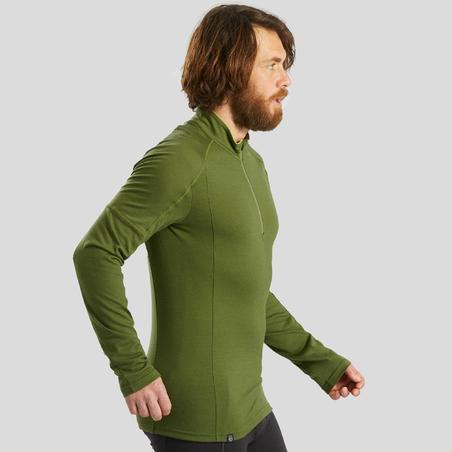 T-shirt mérinos randonnée montagne RANDO500 glissière manches longues homme kaki
