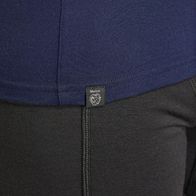 Men's Mountain Trekking Long-sleeved Merino T-Shirt - TREK 500 - Navy