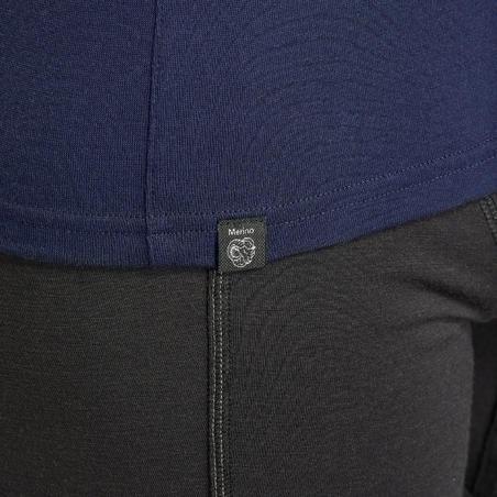 Men's Mountain Trekking Merino Wool Long-Sleeved Shirt TREK 500 - Navy