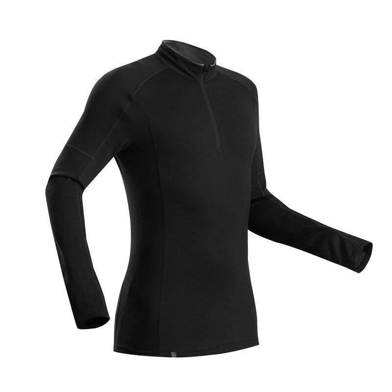 Merino shirt voor bergtrekking heren Trek 500 lange mouwen rits zwart