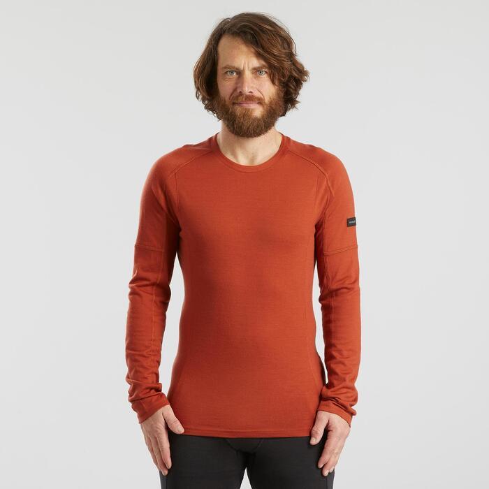 T-shirt mérinos manches longues de trek montagne - TREK 500 orange homme
