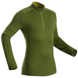 Men's Mountain Trekking Merino Long-Sleeved T-Shirt Trek 500 Zip - Khaki