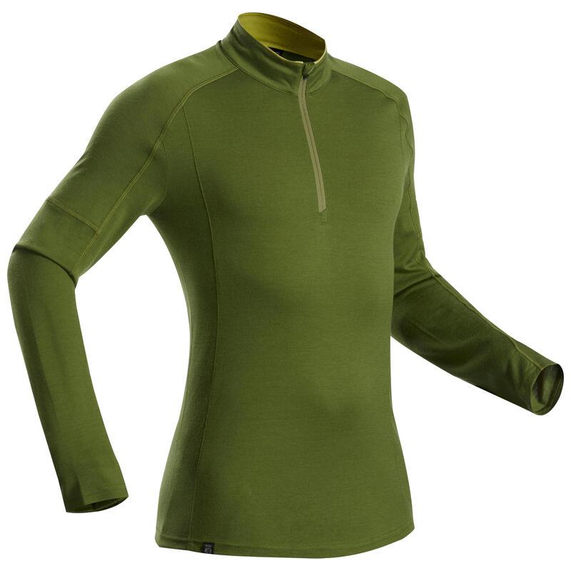 T-shirt met lange mouwen voor bergtrekking heren Trek 500 Merinos rits kaki