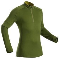 T-shirt lana merinos montagna uomo TREK500 WOOL ZIP verde oliva