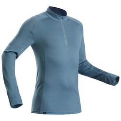 Merino shirt met lange mouwen voor bergtrekking heren Trek 500 rits blauw
