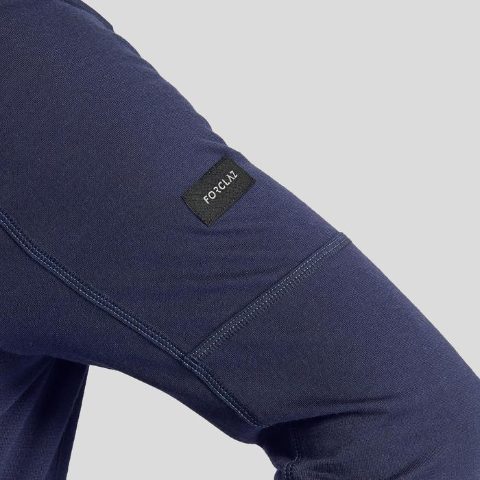 男款登山健行長袖美麗諾T恤TREK 500-軍藍色