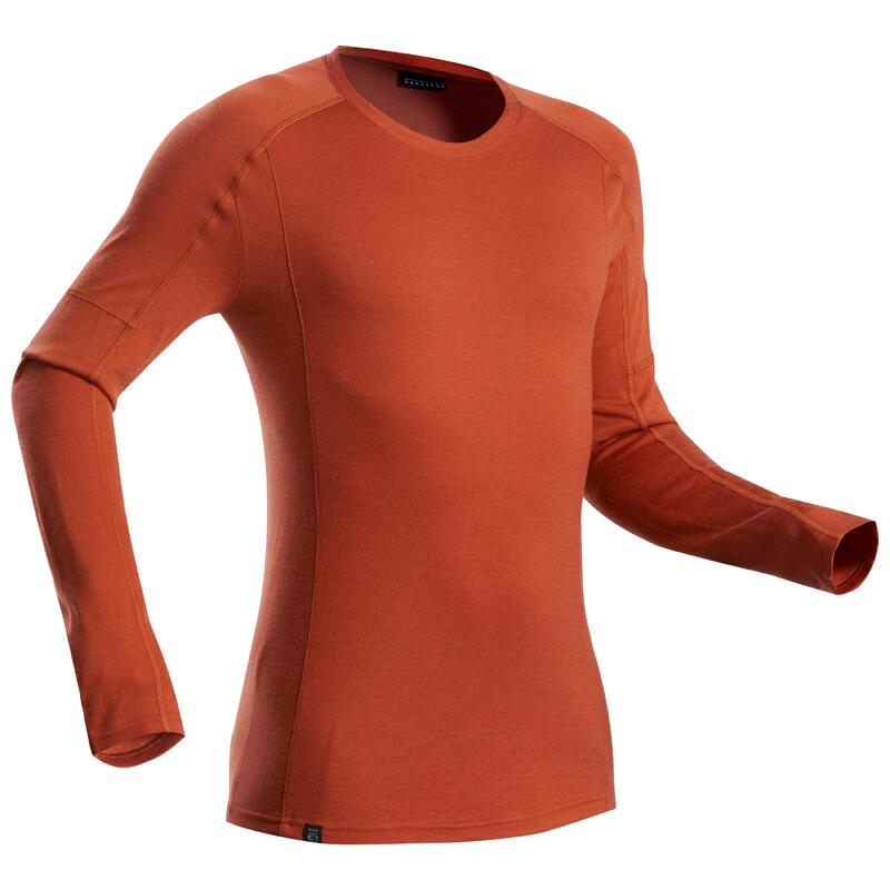 T-shirt met lange mouwen voor bergtrekking heren Trek 500 Merinos oranje