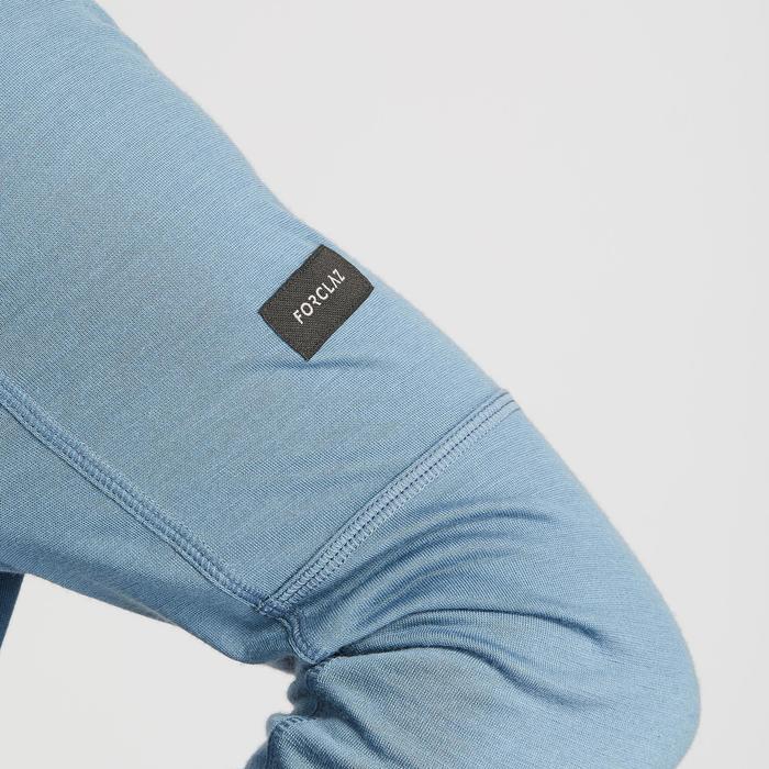 T-shirt mérinos manches longues de trek montagne - TREK 500 bleu homme