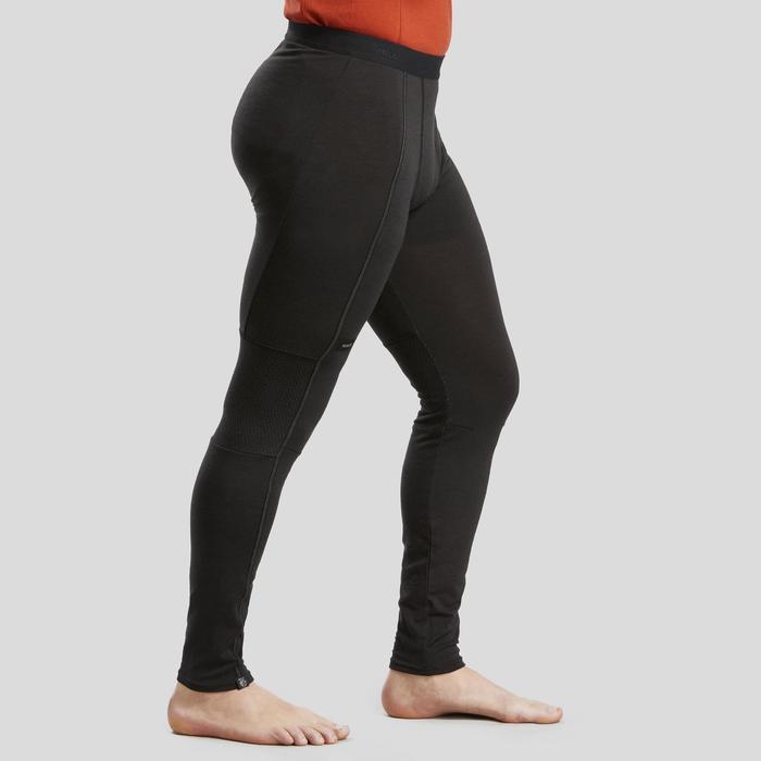Merino legging voor bergtrekking heren Trek 500 zwart