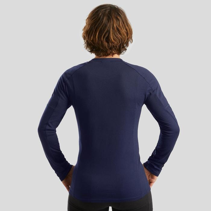 T-shirt mérinos manches longues de trek montagne - TREK 500 marine homme