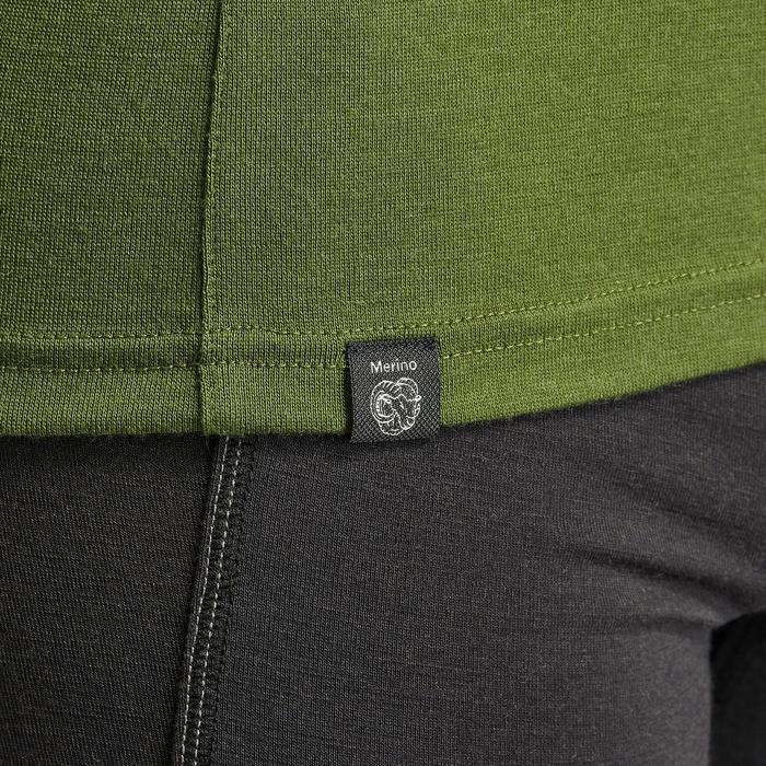 男款登山健行美麗諾羊毛長袖拉鍊T恤TREK 500–卡其色