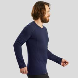 Merino shirt met lange mouwen voor bergtrekking heren Trek 500 marineblauw