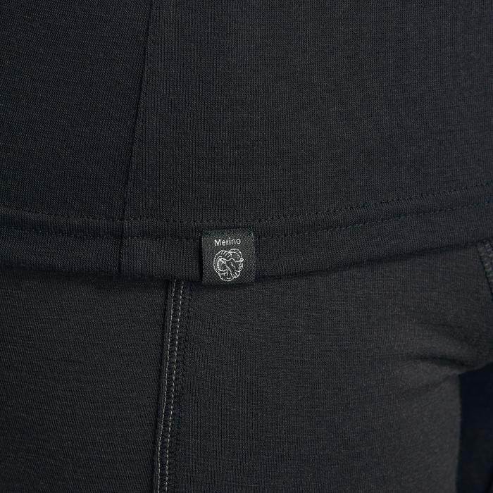 T-shirt mérinos col zip manches longues de trek montagne - TREK 500 noir homme
