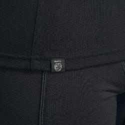 T-shirt manches longues de trek montagne - TREK 500 MERINOS ZIP noir - homme