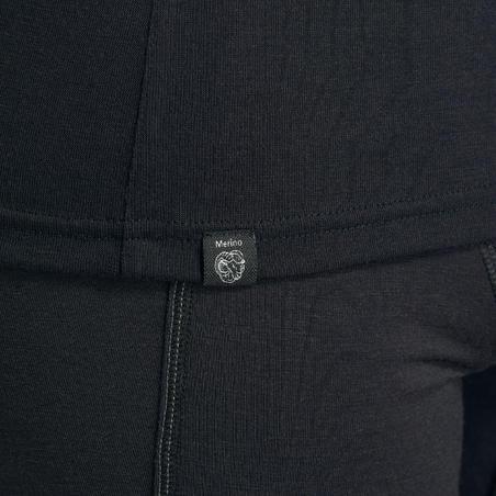 T-shirt mérinos randonnée montagne RANDO500 glissière manches longues homme noir