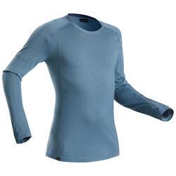 Merino shirt voor bergtrekking heren | Trek 500 lange mouwen blauw