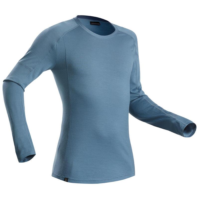 T-shirt met lange mouwen voor bergtrekking heren Trek 500 Merinos blauw